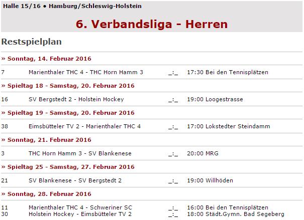 Hockey Restspielplan Liga